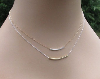 14kt Gold Filled Sterling Silver Curved Bar Layering Necklaces, Delicate Minimalist Jewelry Gift for Her