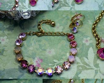 Spellbound Swarovski Elements Tennis Bracelet Rhinestone 8mm Gold Pink Purple