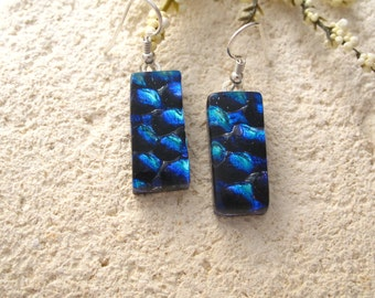 Silver Blue & Cobalt  Earrings, Dichroic Glass Earrings, Dangle Drop Earrings,  Dichroic Jewelry,  Sterling Silver Earrings 041115e101