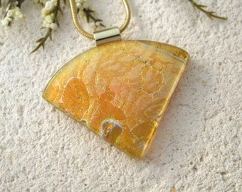 Amber Dichroic Necklace, Dichroic Jewelry, Gold Necklace, Dichroic Fused Glass Jewelry, Golden Amber, Dichroic Glass Necklace 062515p106