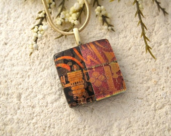 Petite Red Golden Copper Necklace, Dichroic Glass Jewelry, Fused Glass Jewelry, Dichroic Pendant, Fused Glass, Gold Necklace 070215p105
