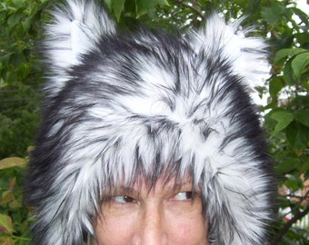 Fur Wolf Hat Fluffy White Black Malamute Husky Dog Animal Ear Adult Costume Furry Wolf geek Hat