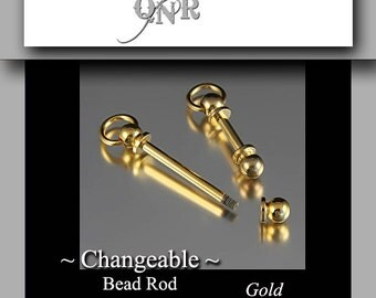 Supplies - Interchangeable Bead Pendant/Rod - Gold Color- Large