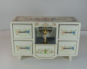 vintage 1960s wooden ballerina and floral painted jewelry box