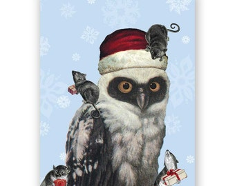 SALE! Owl and Mice - Holiday Card - Christmas - Santa - Bird