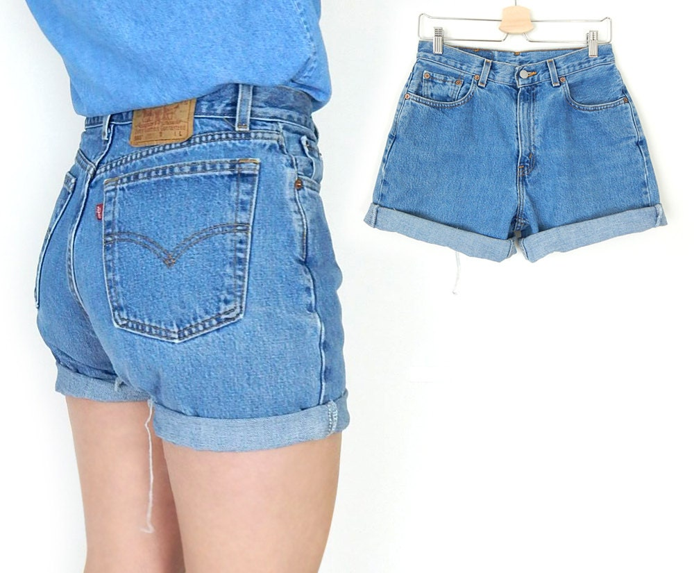 Vintage 90s Levis 560 High Waisted Denim Cutoff Jean Shorts