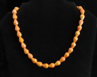 Orange Glass Beaded Necklace Single One Strand Teardrop Shaped Beads Vintage 1970's Costume Jewelry Accessories Elsysvintage