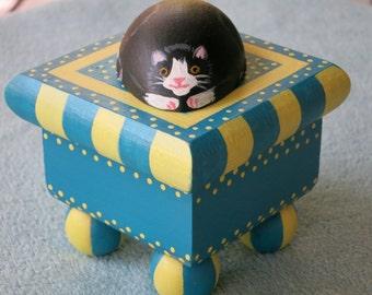 Painted Square Cat Jewelry Box, Wood Kitty Keepsake Box, Resting Cat Box, Tuxedo Cat On A Box, Yellow And Blue Jewelry Box, Kitty Box