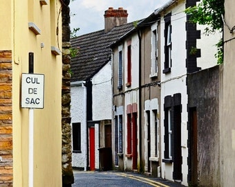 WATERFORD, Ireland, Irish Photography, Cul De Sac, House with Red Door, Narrow Lane, Deise, Irish Decor, Colorful Houses, Old European Road
