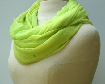 Summer Infinity scarf, sequins chartreuse yellow, Lime green ,Loop Eternity scarf, circle scarf handmade Ethnic hippie Boho scarf vtg Indian