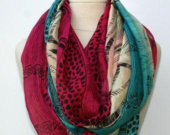 Infinity scarf, Loop scarf, Eternity scarf, circle scarf handmade upcycled Indian print Ethnic hippie Boho scarf, teal pink beige scarf,
