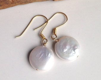 Coin Freshwater Pearls, Pearl Earrings, Goldfill Earwires, Everyday Earrings, Drop Earrings, Pearl Earrings, Etsy, Etsy Jewelry