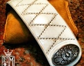 Leather cuff Bracelet Distressed quilted WHITE hand stitched and lined with Concho snap handmade for YOU in NYC by Freddie Matara!