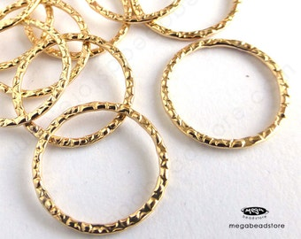 4 pcs 14mm 14K Gold  Filled Pattern Rings Round Enclosed Ring F328GF