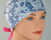 Surgical Scrub Hat or Chemo Cap- The Mini with Ribbon Ties- Gray Damask