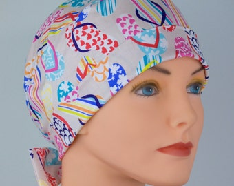 Surgical Scrub Hat or Chemo Cap- The Mini with Fabric Ties- Flip Flops