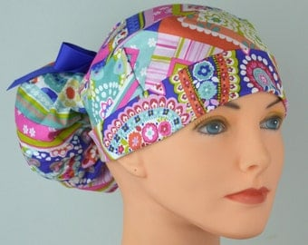 The Perfect Fit Ponytail Scrub Hat Original Design Best Fit Ever Pony Pouch-Handkerchief Paisley