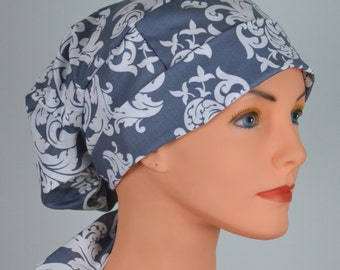 SMALL Womens Surgical Scrub Caps with FABRIC TIES - The Hat Cottage - Gray Damask