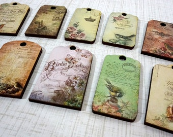 Shabby Chic Tag Collection - 10 Wood Tags for Decorating or Gift Giving