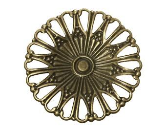 10pc 49mm antique bronze filigree wraps-9850