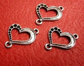8pc antique silver heart shape metal link-2778