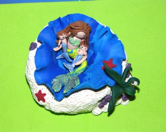 Mermaids Mother and child  Cove Unique hand sculpted fantasy  Doll & Miniatures OOAK .fantasy Home  Living  Trending Items