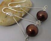 Chocolate Brown South Sea Shell Pearl Sterling Silver Drop Earrings