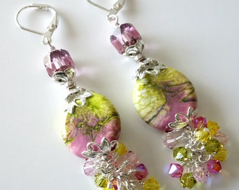 Porcelain Beaded Earrings, Pink and Yellow, Olive Green, Swarovski Crystals, Silver Drops, Dangles, Spring, Summer, Beaded Jewelry, OOAK