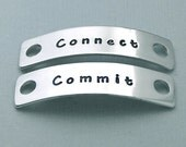 Canine Agility Shoe Tags - Connect - Commit - Hand Stamped Dog Agility Accessory - MACH Gift - Motivational