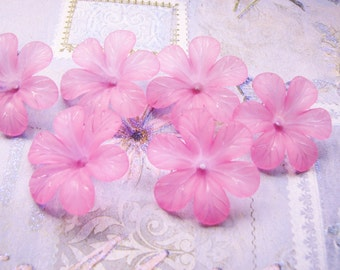 Clematis Flower Blossoms in Lagoon 33mm Lucite (6flowers) b2212