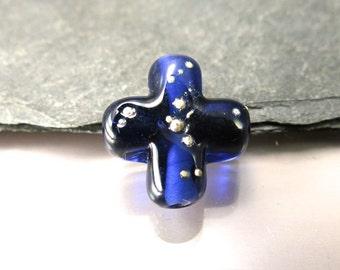 Handmade Lampwork Focal Bead by GlassBeadArt  ... Ink blue cross ... SRA F12 ... 20mm