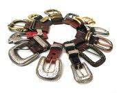 One Dozen Fancy Western Style Reclaimed Belt Buckles and D-rings, Vintage, Reclaimed