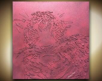 Original modern pink leopard painting abstract metallic animal art palette knife texture art home decor mixed media Susanna 24x24