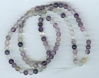 4mm Fluorite Gemstone Beads - 15in Strand
