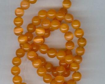 6mm Burnt Orange Cats Eye Fiber Optic Glass Catseye Beads 15 Inch Strand