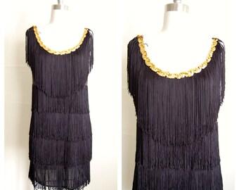 black fringe flapper style dress (s)