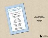 Baby Boy Shower Invitation 4x6 - Plaid Blue - Instant Download - MS Word Printable Editable Digital Template