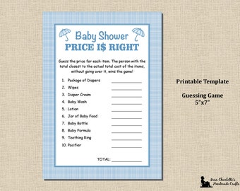 Baby Boy Shower Shower Price Is Right Game - 5x7 - Plaid Blue - Instant Download - Printable Digital Template PDF