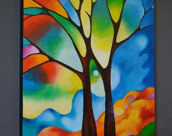 Abstract painting, acrylic painting, tree art, landscape painting, Two Trees, stained glass appearance, made-to-order