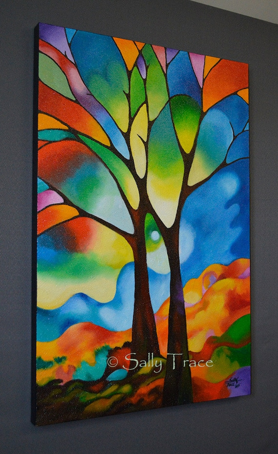 """Abstract tree painting 36x24 inch original abstract landscape tree painting, lots of texture,""""Two Trees"""" tree art, stained glass appearance"""