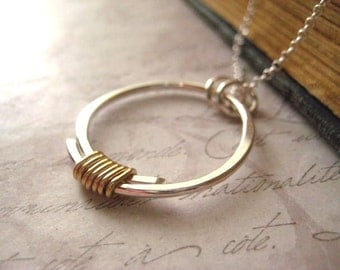 Circle Necklace, Mixed Metals, Fine Silver, 14k Gold Fill,  Wrapped Silver, Sterling SIlver, Rolo Chain, Womens Jewelry, Gold Filled Wire