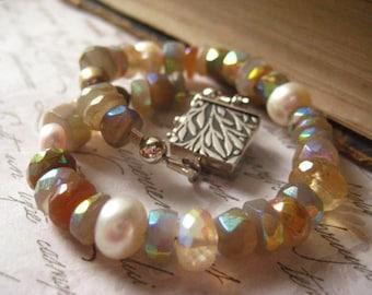 Moonstone Bracelet, Rainbow Mystic, Sterling Clasp, Box Leaf Clasp,Button Pearls, Beaded Bracelet, Semi Precious Gem, Moonstone Rondelle