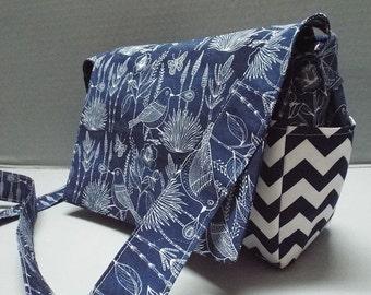 Cross Body Bag or Purse Moody Blues Fabric