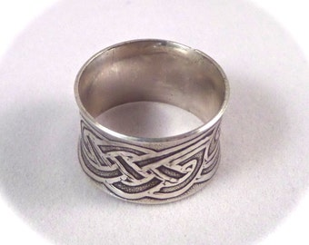"""Celtic Knot Band 1/2"""" Wide Sterling Silver Ring with a wonderful Comfort Curve - Anticlastic"""