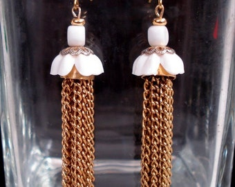 Tassel and White Bead Cap Dangling Earrings