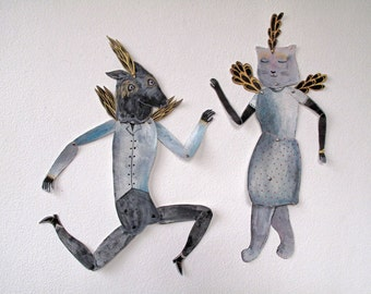 SALE Dancing Wolfman and Cat Woman Set Articulated Paper Creature / Hinged Beasts Series
