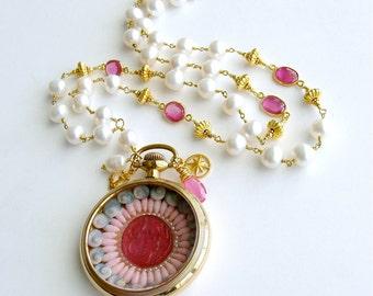 Sailor's Valentine Pocket Watch Pink Sapphire Baroque Pearls Necklace - Capraia Sailor's Valentine Necklace