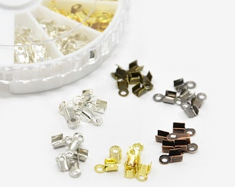 Cord Ends (MB68) 400+ Folding Cord Crimp Ends 6x3mm 6 Colors in Storage Container
