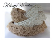 Crochet Storage Pattern - Crochet Basket Pattern - Nesting Bowls with Drop Over Lace Edge - 5 sizes Baby Shower Gift KrissysWonders No 91