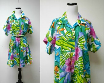 TROPICAL ISLAND BREEZE . colorful cotton romper . size large
